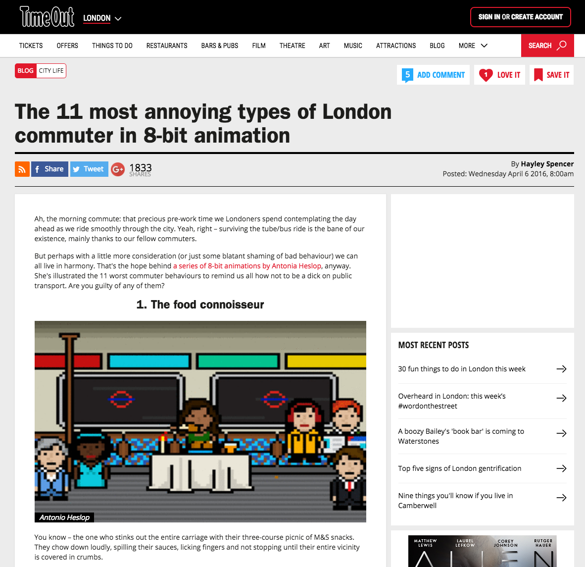 TfL 8-Bit Animations Featured In Time Out London